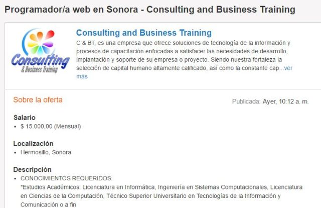 Programador web en Sonora Consulting and Business Training